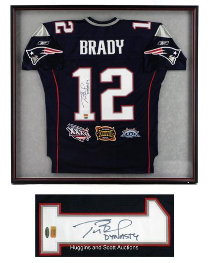 on sale 83806 6fc23 Tom Brady Signed and Framed Patriots Jersey With